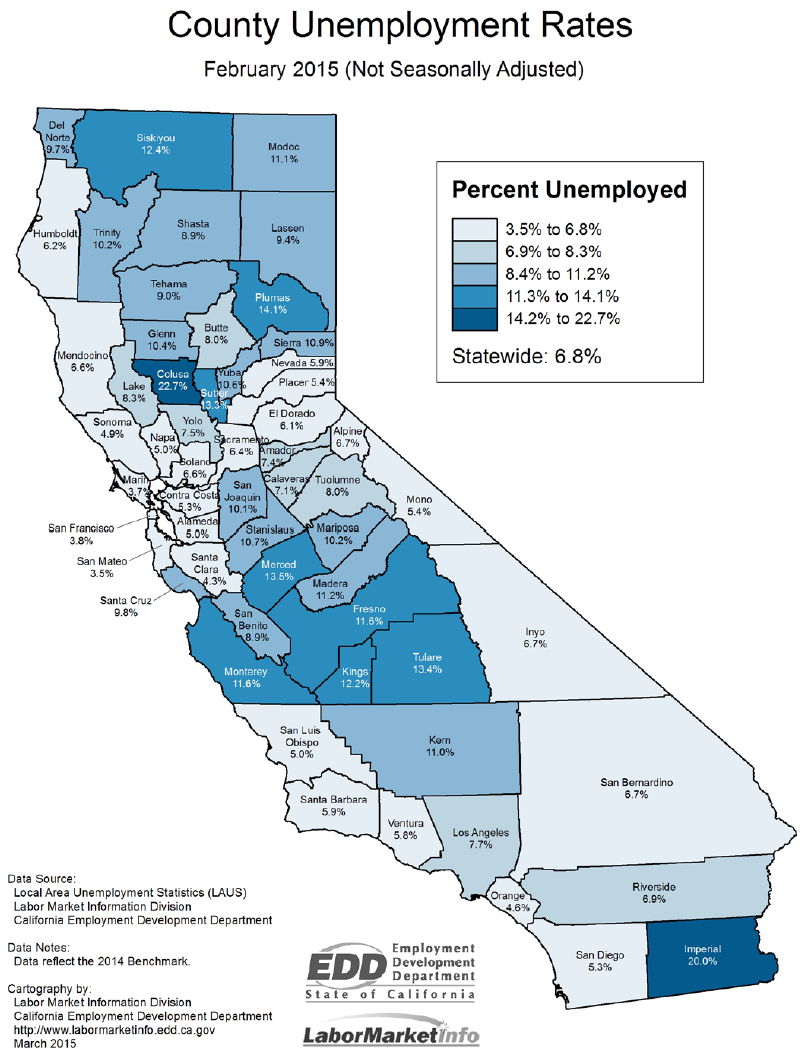 California Nonfarm Jobs Up - Us counties with lowest unemployment rate