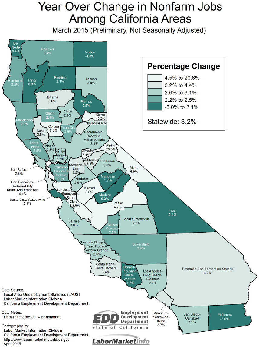 California Nonfarm Jobs Up By - Us map job growth