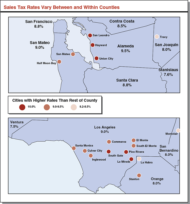 California Sales Tax Los Angeles >> California Sales Tax Rates Vary By City And County Econtax
