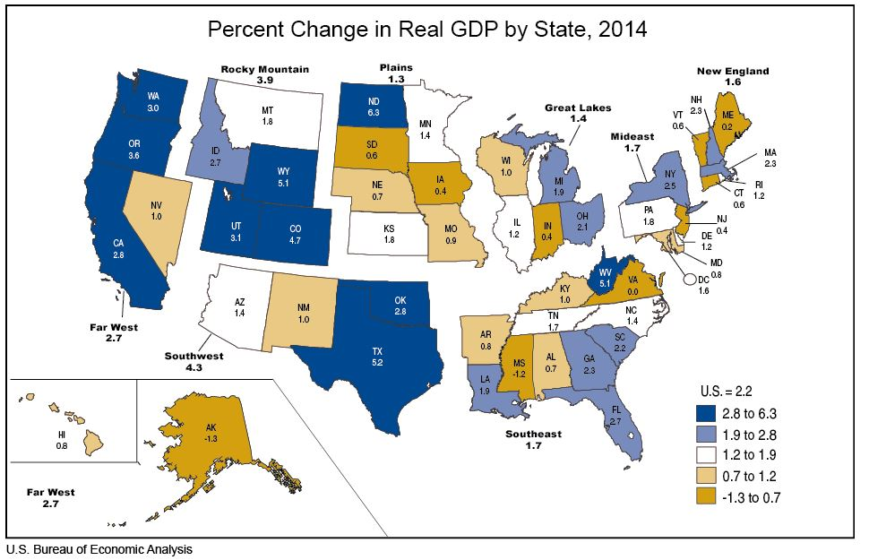 2014 GDP Growth: California Outperforms Nation [EconTax Blog] California States Map on