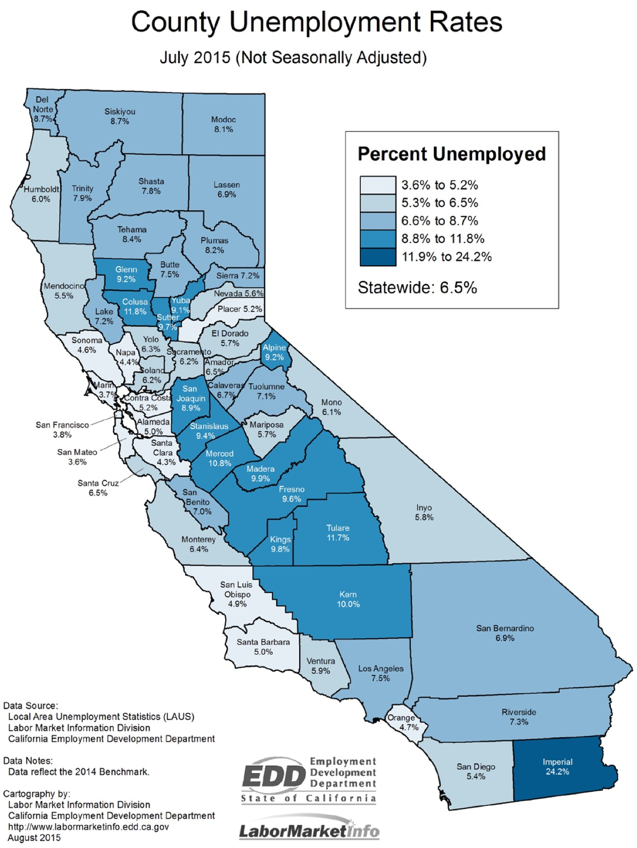July  Jobs Report Job Growth Trend Continues - Us counties with highest unemployment rate