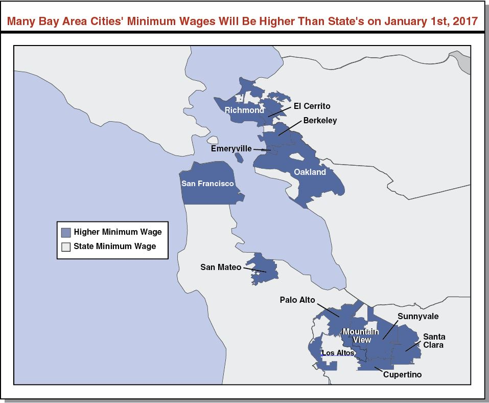 This map shows that many Bay Area cities' minimum wages will be higher than the state's minimum wage on January 1, 2017.