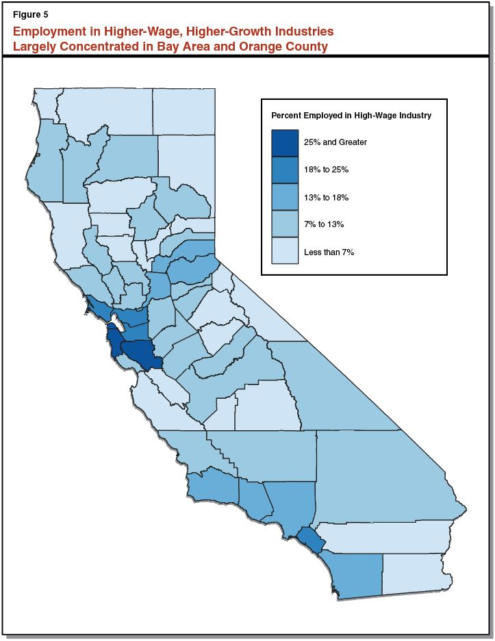 Industry California Map.Industry Wage Growth In California Econtax Blog