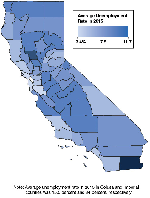 Unemployment Rates Generally Highest in Central Valley