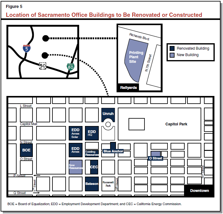 Figure 5 - Location of Sacramento Office Buildings to Be Renovated or Constructed