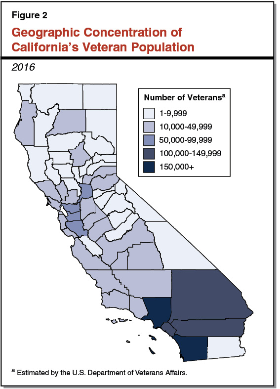 Figure 2 - Geographic Concentration of California's Veteran Population