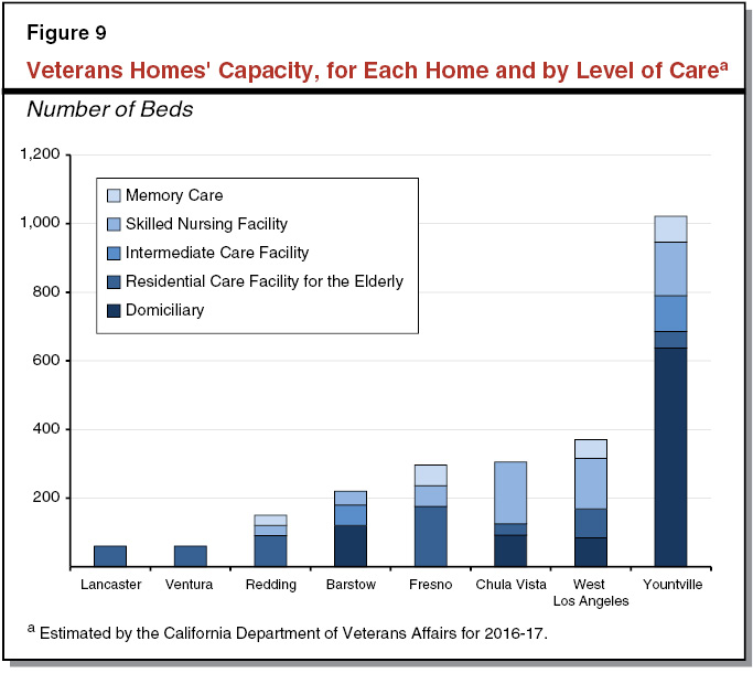Figure 9 - Veterans Homes' Capacity, for Each Home and Level of Care