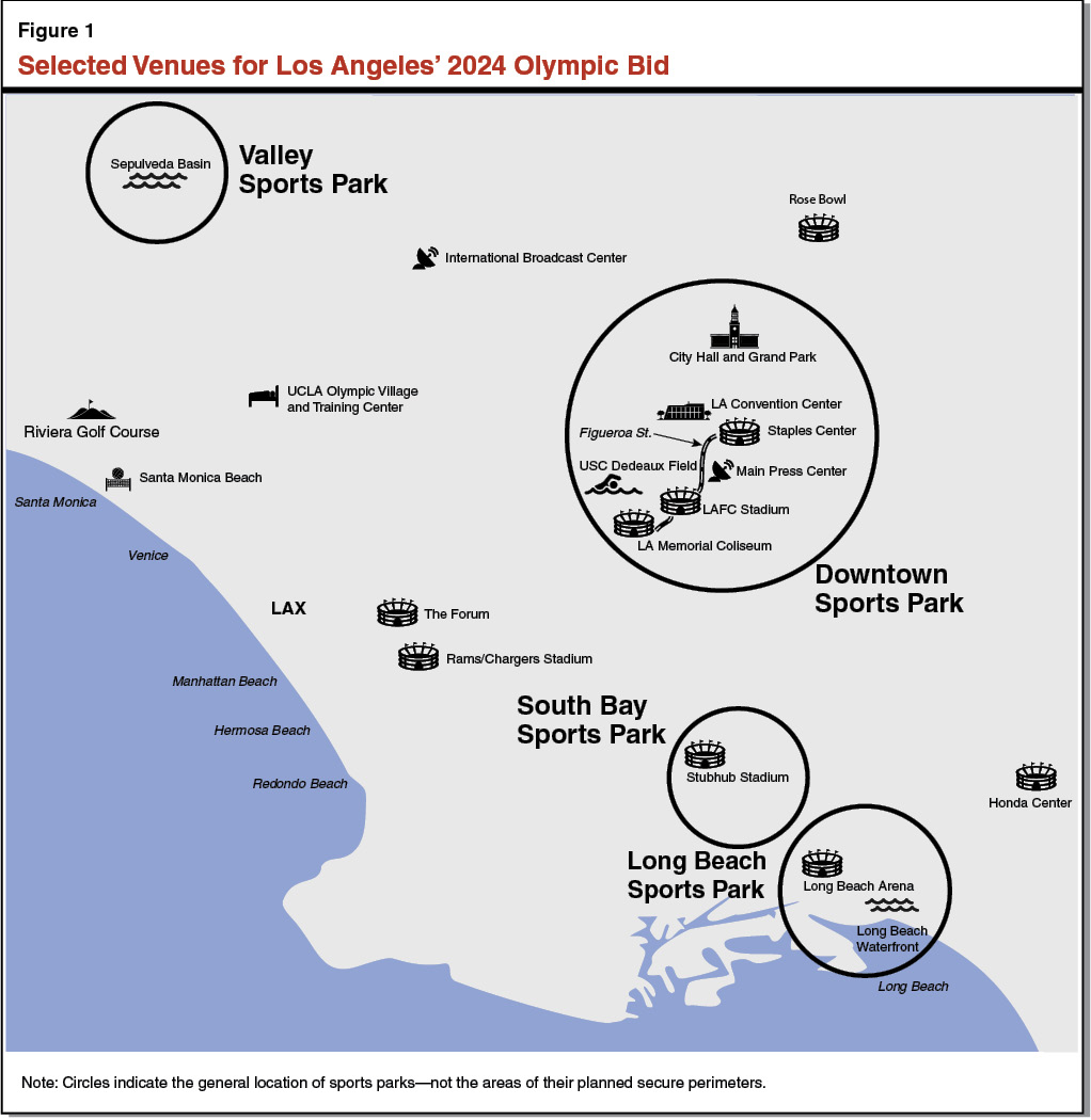 Update on los angeles bid for the 2024 olympics figure 1 selected la 2024 venues xflitez Choice Image