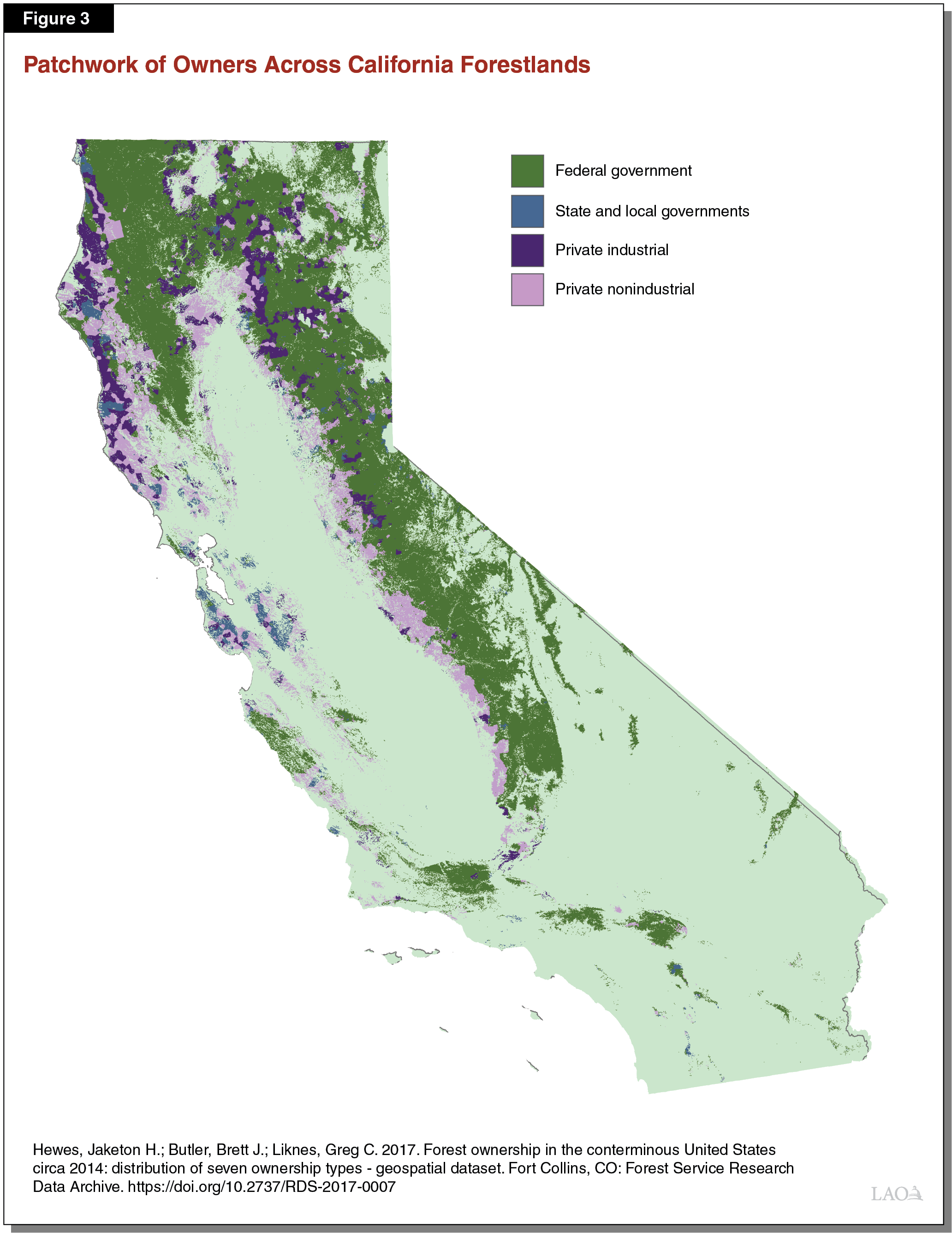 Figure 3 - Patchwork of Owners Across California Forestlands