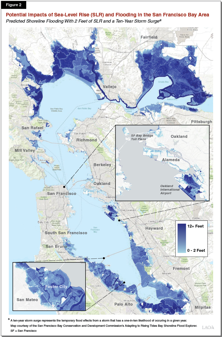 Potential Impacts of Sea-Level Rise (SLR) and Flooding in the San Francisco Bay Area: https://lao.ca.gov/reports/2019/4121/Fig2.png